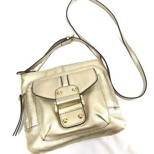Franco Sarto Gold Metallic Leather Crossbody Bag